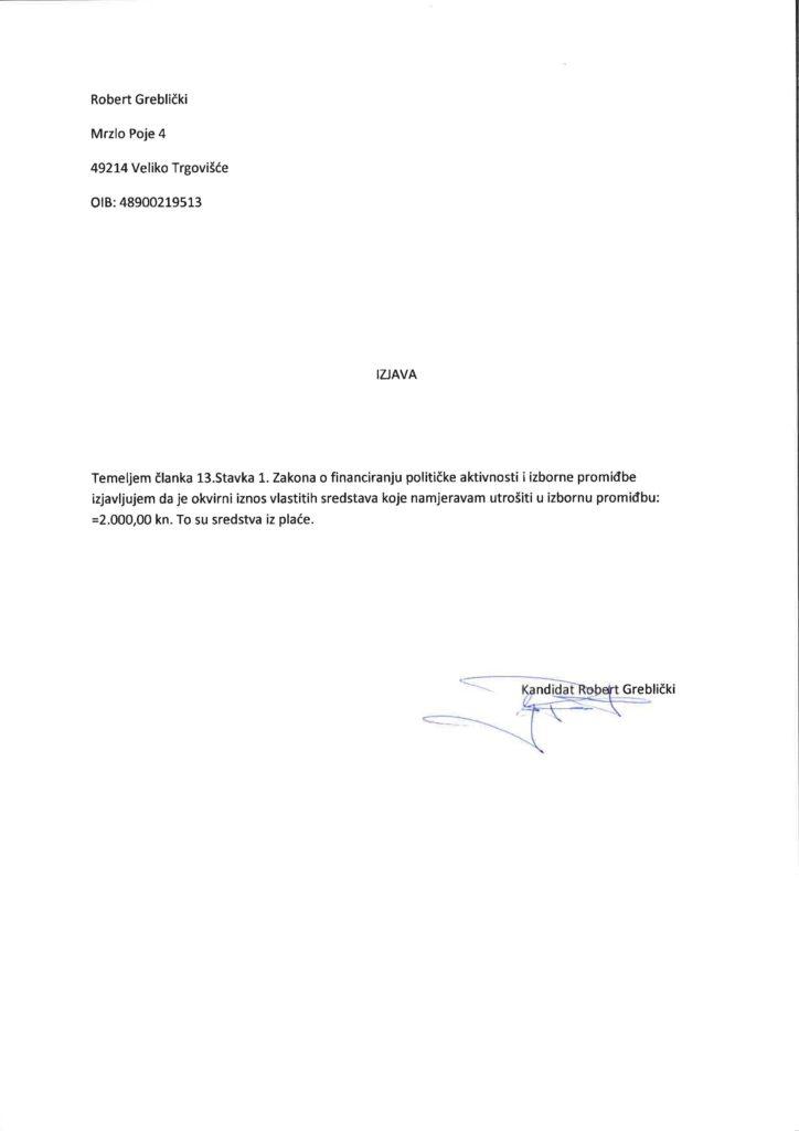 Izjava vlastita sredstva Robert Greblički